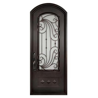 40 in. x 98 in. Mara Marea Classic 3/4 Lite Painted Oil Rubbed Bronze Decorative Wrought Iron Prehung Front Door