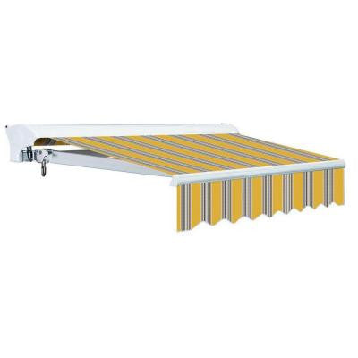 10 ft. Luxury L Series Semi-Cassette Electric w Remote Retractable Patio Awning (98 in. Projection) Yellow Gray Stripes