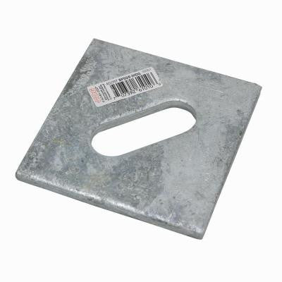 3 in. x 3 in. Hot-Dip Galvanized Slotted Bearing Plate with 5/8 in. Dia. Bolt