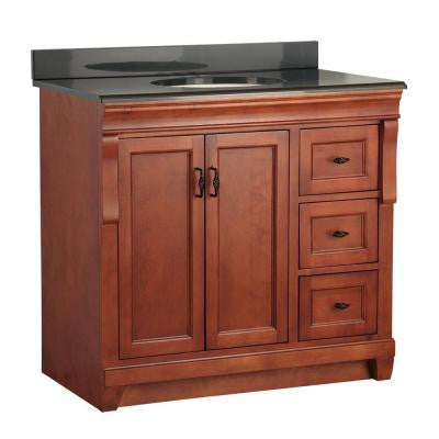 Naples 37 in. W x 22 in. D Vanity in Warm Cinnamon with Colorpoint Vanity Top in Black