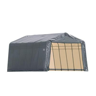 12 ft. x 24 ft. x 8 ft. Grey Cover Peak Style Shelter