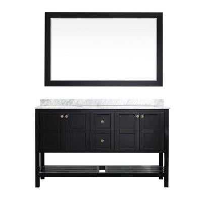Florence 60 in. W x 22 in. D x 35 in. H Vanity in Espresso with Marble Vanity Top in White with Basin and Mirror