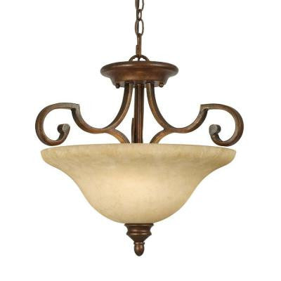 Hollis Collection 3-Light Champagne Bronze Semi-Flush Mount Light