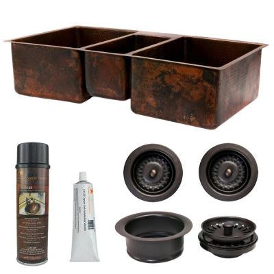 Undermount Hammered Copper 42 in. 0-Hole Triple Bowl Kitchen Sink and Drain in Oil Rubbed Bronze