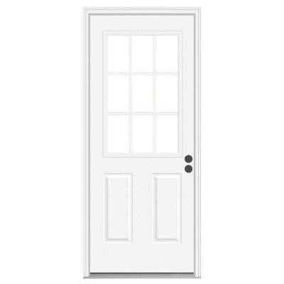 30 in. x 80 in. 9 Lite Primed Premium Steel Prehung Front Door with Brickmould