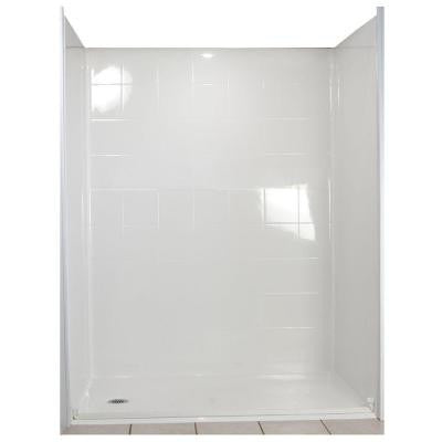 Standard 37 in. x 60 in. x 77-1/2 in. 5-piece Barrier Free Roll In Shower System in White with Left Drain
