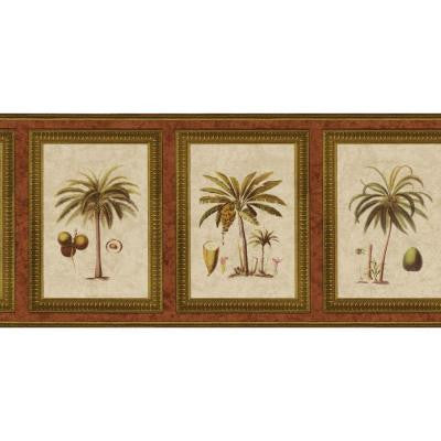 8.75 in. x 15 ft. Coral Exotic Palms Print Border