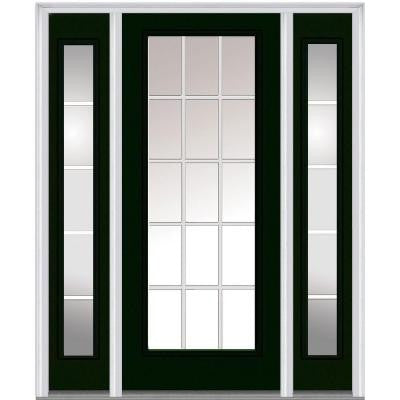 60 in. x 80 in. Classic Clear Glass GBG Full Lite Painted Fiberglass Smooth Prehung Front Door with Sidelites