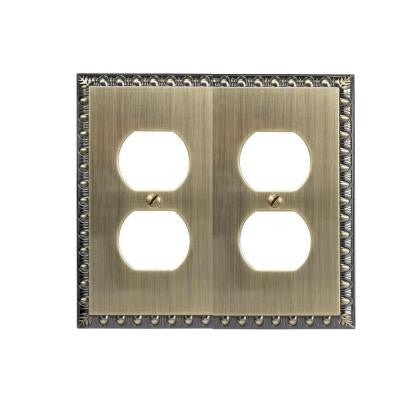 Renaissance 2 Duplex Wall Plate - Brushed Brass