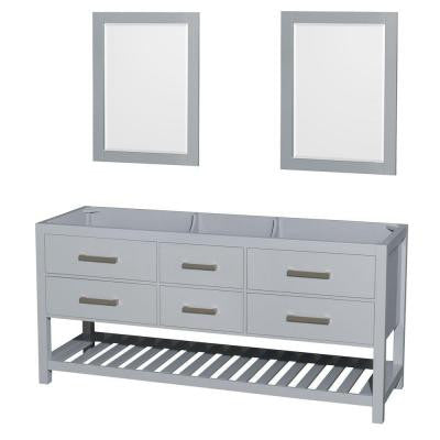 Natalie 72 in. Vanity Cabinet with Mirrors in Gray