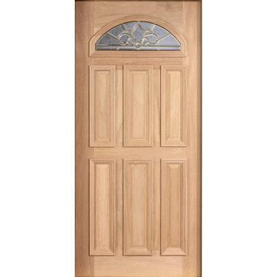 36 in. x 80 in. Mahogany Type Unfinished Beveled Brass Fanlite Glass Solid Wood Front Door Slab