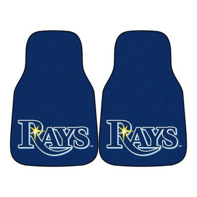 Tampa Bay Rays 18 in. x 27 in. 2-Piece Carpeted Car Mat Set