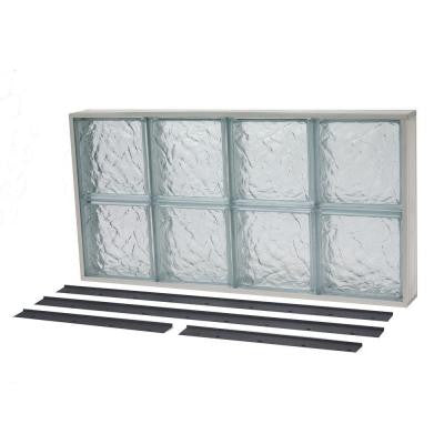 39.375 in. x 15.875 in. NailUp2 Ice Pattern Solid Glass Block Window