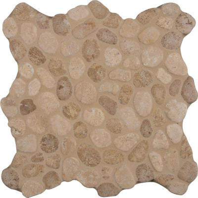 Travertine Blend Pebbles 12 in. x 12 in. x 10 mm Tumbled Mesh-Mounted Mosaic Tile (10 sq. ft. / case)