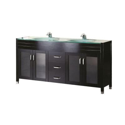 Waterfall 72 in. W x 22 in. D Vanity in Espresso with Glass Vanity Top and Mirror in Mint