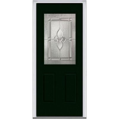 32 in. x 80 in. Master Nouveau Decorative Glass 1/2 Lite 2-Panel Painted Fiberglass Smooth Prehung Front Door