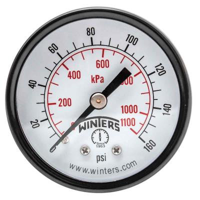 PEM Series 2 in. Black Steel Case Brass Internals Pressure Gauge with 1/4 in. NPT CBM and Range of 0-160 psi/kPa