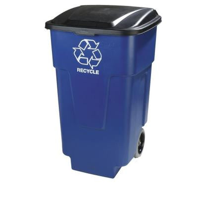 50 Gal. Blue Roll Cart Recycle Container (2-Pack)