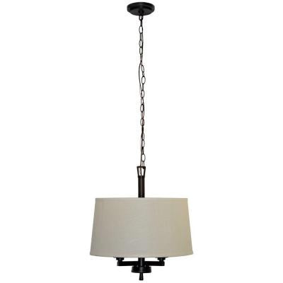 Atchison 3-Light Oil-Rubbed Bronze Drum Pendant with White Linen Shade