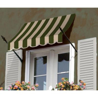 25 ft. New Orleans Awning (44 in. H x 24 in. D) in Sage/Linen/Cream Stripe