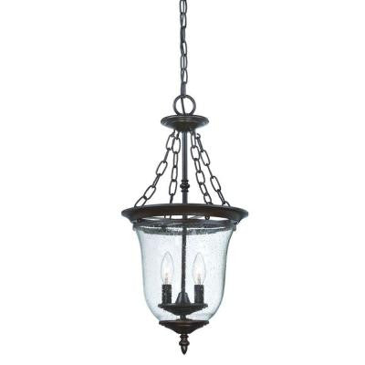 Belle Collection 2-Light Outdoor Architectural Bronze Hanging Lantern