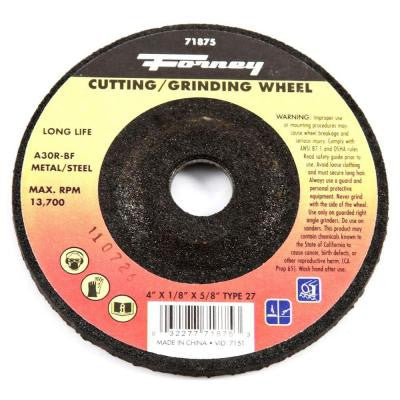 4 in. x 1/8 in. x 5/8 in. Metal Type 27 A30R-BF Grinding Wheel