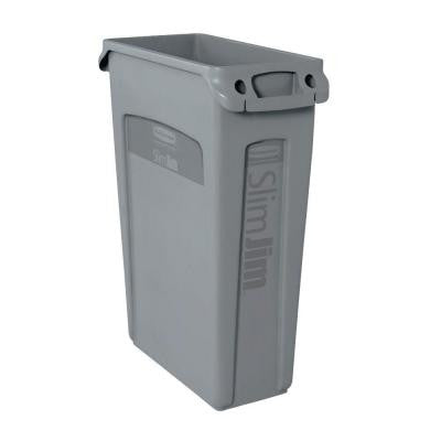 Slim Jim 23 Gal. Grey Rectangular Trash Can with Venting Channels