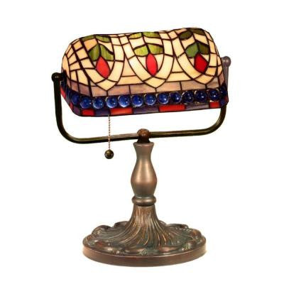 13 in. Art Glass Multicolored/Brown Desk Reading Lamp