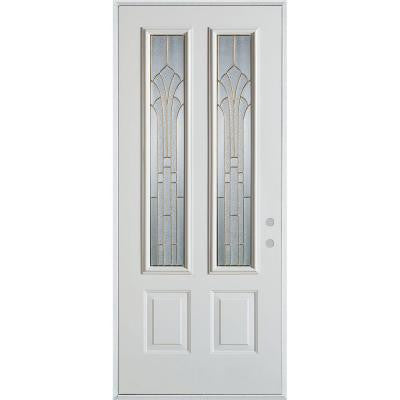 36 in. x 80 in. Art Deco 2 Lite 2-Panel Prefinished White Steel Prehung Front Door
