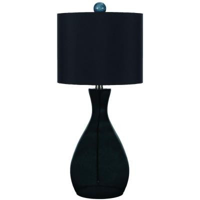 Mercer 26 in. Smoke/Dark Green Hand-Blown Glass Table Lamp
