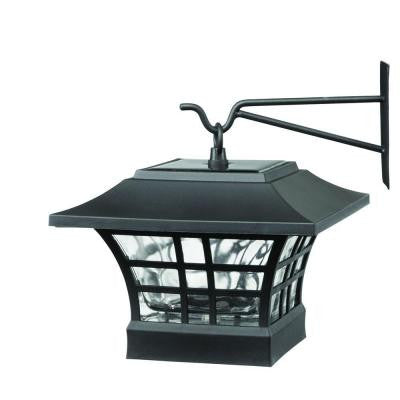 Solar Black LED Deck Post with Plastic Cage and Glass Lens (2-Pack)