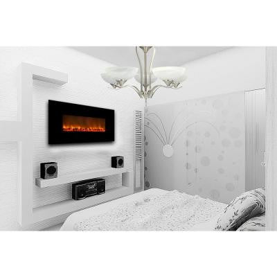 Carbon Flame 58 in. Wall-Mount Electric Fireplace in Black