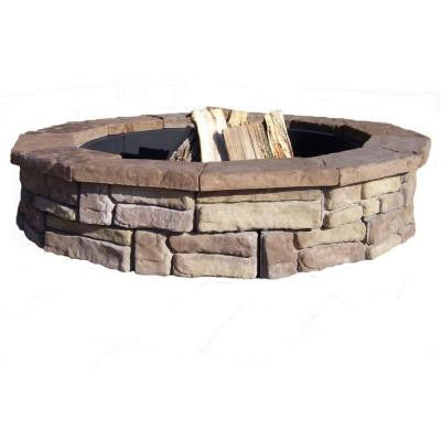 60 in. Concrete Random Stone Brown Round Fire Pit Kit