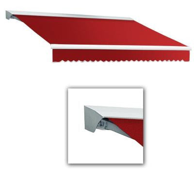 12 ft. Destin-LX Manual Retractable Acrylic Awning with Hood (120 in. Projection) in Red