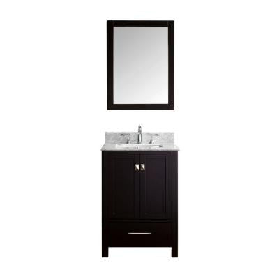Caroline Avenue 24-6/8 in. Single Vanity in Espresso with Marble Vanity Top in White and Mirror