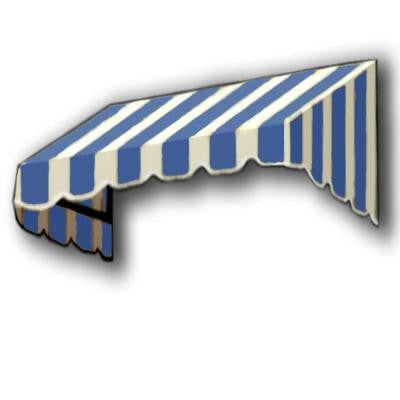 5 ft. San Francisco Window/Entry Awning Awning (18 in. H x 36 in. D) in Bright Blue / White Stripe