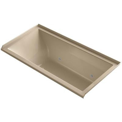 Underscore 5 ft. VibrAcoustic Right Drain Soaking Tub in Mexican Sand with Chromotherapy