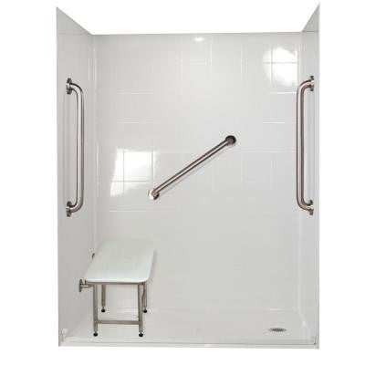 Standard Plus 24 31 in. x 60 in. x 77-1/2 in. Barrier Free Roll-In Shower Kit in White with Right Drain