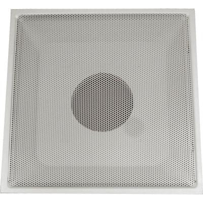 24 in. x 24 in. Drop Ceiling T-Bar Perforated Face Return Air Vent Grille, White with 12 in. Collar