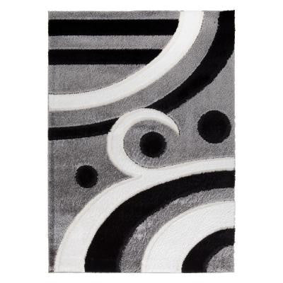 Casa Regina Collection Contemporary Abstract Design Black 5 ft. 3 in. x 7 ft. 3 in. Area Rug