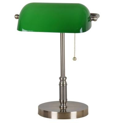 15 in. Antique Brass Bankers Lamp with Green Glass Shade T20 Compliant Fixture