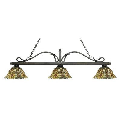 Evelyn 3-Light Golden Bronze Island Light with Tiffany Glass Shades