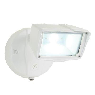 Outdoor White Small Single Head Dusk-to-Dawn LED Flood Light