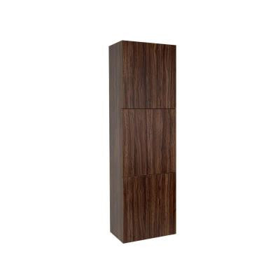 18 in. W Linen Storage Cabinet with 3 Doors in Walnut