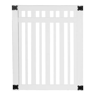 Pro Series 4 ft. x 5 ft. White Vinyl Lafayette Spaced Picket Fence Gate