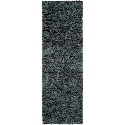 Leather Shag Grey 2 ft. 3 in. x 9 ft. Rug Runner