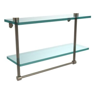 16 in. W x 16 in. L 2-Tiered Glass Shelf with Integrated Towel Bar in Antique Pewter