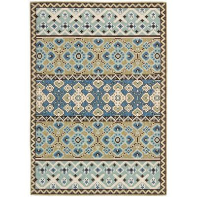 Veranda Green/Blue 5 ft. 3 in. x 7 ft. 7 in. Indoor/Outdoor Area Rug