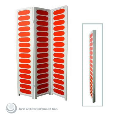 3-Panel Wood Room Divider in White and Orange