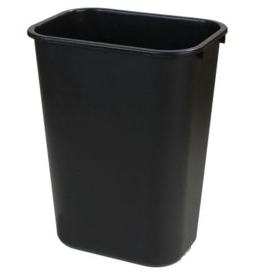 10 Gal. Black Rectangular Office Trash Can (12-Pack)